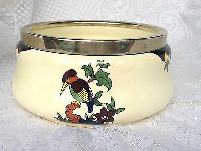 TAMPICO WARE J.B.S. Pearlwhite Bowl with 'silver' rim - Made in Bohemia (94)