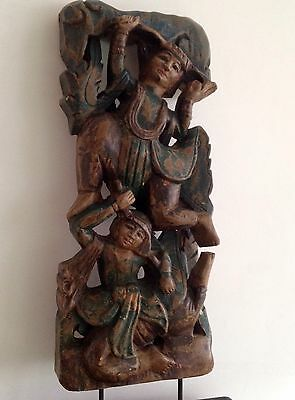 Large Oriental Temple Deities Carved Wood On Plinth Stand