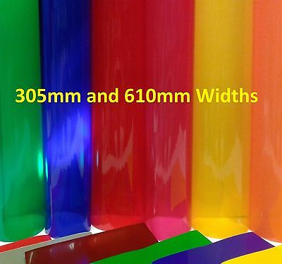 A4,1m, 5m LONG TRANSPARENT COLOURED WINDOW GLASS FILM TINT STICKY BACK PLASTIC