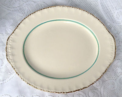Creampetal Grindley England Platter with turquoise blue/gold rim (98)