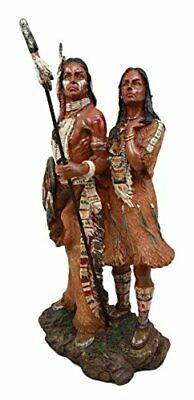 "13"" Height Native American Indian Warrior Couple Standing Figurine Statue Decor"
