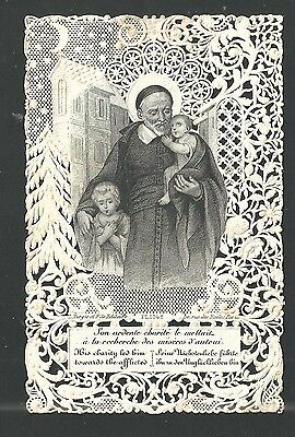 Estampa Puntilla Canivet San Vicente de Paul andachtsbild santino holy card