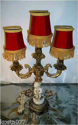 VTG Brass and Ceramic Candelabra Lamp Marble Parts & Ceramic Boy Figurine