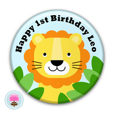 Personalised LION Jungle Safari 1st 2nd 3rd 4th 5th Birthday Party Badge (58mm)