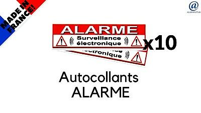 "Lot de 10 Autocollant / Sticker dissuasif  "" ALARME ""   SUPER PROMO   !!!"