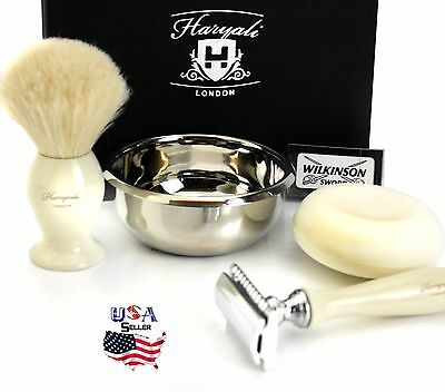 De Blade Safety Razor  Badger Shaving Brush Soap And Bowl Gift Set New