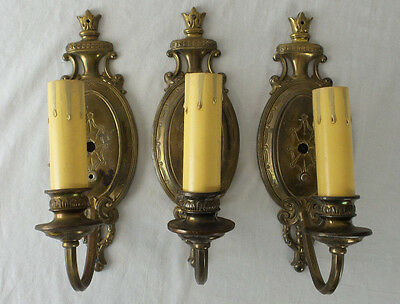 Antique Wall Sconces Colonial Revival Solid Brass Lot of 3 Single Arm
