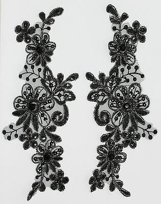 Handmade Venise Lace Sequins Applique Trim Motif Colour : M Black  #11