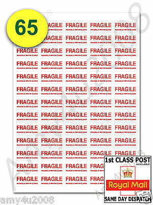 65 x FRAGILE STICKERS HANDLE WITH CARE SMALL Labels ✔FAST✔FREE DELIVERY
