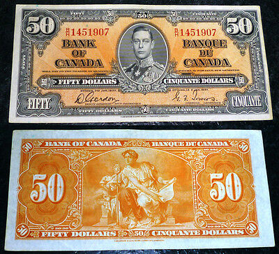 Bank of Canada 1937 $50 ,One fold AU banknote