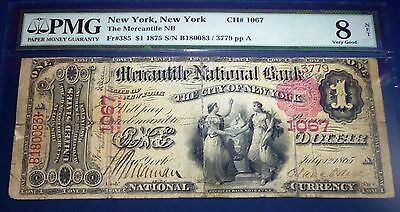 PMG graded   , New York, NY - $1 1875 ,The Mecantile National Bank