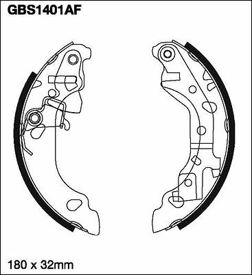 Unipart Brake Shoe Set GBS1401AF Dimensions: 180x32mm