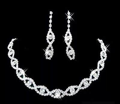 Silver Tone, Diamante Crystal Necklace and Earrings Set