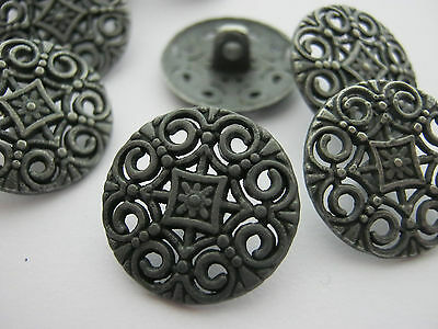 12pcs Gunmetal Hollow Vintage Nautical Round Metal Shank Buttons 18mm//23mm//25mm