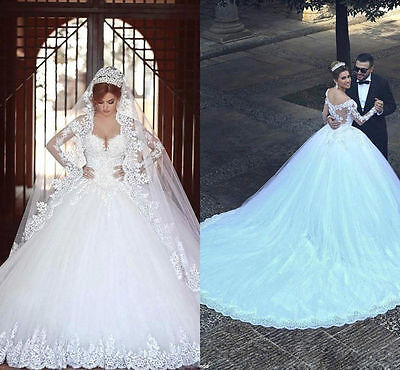 White/Ivory Princess Lace Wedding Dress Bridal Gown Ball Gowns Custom Size 4-26+