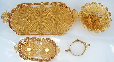"Stunning Persian  Silver Filigree Hand Made 24 KT Gold Plated"" 4 Pc Set"