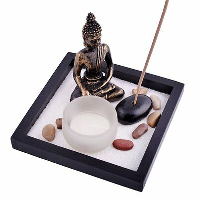 Zen Garden Garten Sand Buddha Rocks Tealight Incense Holder Feng Shui T1020