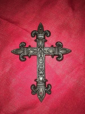 Large Cast Iron Fleur De Lis Cross, Church Decor, Wall Hanging