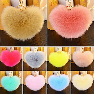 Rabbit Fur Heart Shape Ball PomPon Charm Car Keychain Handbag Pendant Key Ring