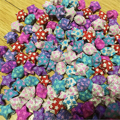 50pcs/pack Shining Lucky Stars Origami Folded Finished Paper Gift Random Color