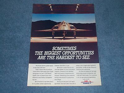 1993 Vintage Air Force Recruiting Ad with F-117A Stealth Fighter