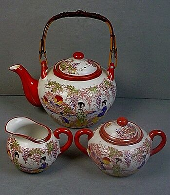 Antique Japanese Geisha Girl Porcelain Teapot, Sugar Bowl & Creamer