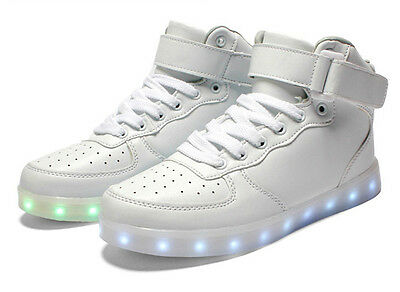 Unisex LED Light Lace Up Luminous Shoes Sportswear Sneaker High Top Shoes Casual