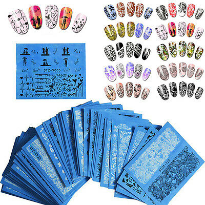 48 Sheets 3D Flower Lace Nail Art Water Transfer Decals Stickers Nail Tips Decor