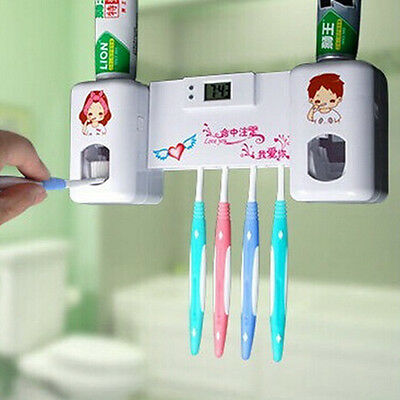 Toothpaste Dispenser + 5 Toothbrush Holder Set Wall Mount Stand With Clock
