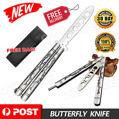 Practice BALISONG METAL BUTTERFLY Steel Trainer Knife With Sheath Exquisite AU