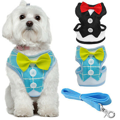 Soft Mesh Dog Harness and Lead Gentleman Tuxedo Suit for Puppy Yorkie Chihuahua