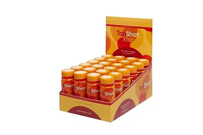 24 Tan Shot Xtra Tanning and Beauty Drink with CoQ10 and Vitamins in Display Box