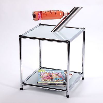 """DESIGN END TABLE """"STYLE""""   white/silver, 15.5""""x15.5""""x15.5""""   modern side table"""