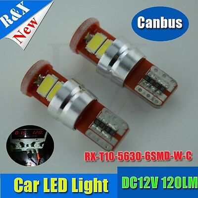 2X Canbus Error Free T10 194 168 W5W 5630 LED 6 SMD White Side Wedge Light Bulb