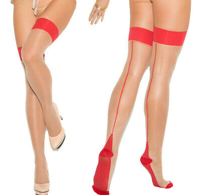 Elegant Moments Red/Nude Cuban Foot Sheer Thigh Highs Stockings Hold Ups O/S