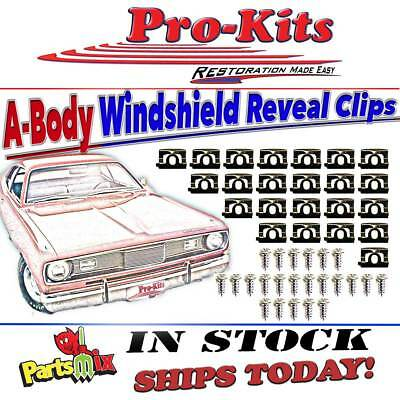 Mopar 68 69 70 71-75 Dart Valiant Windshield Front Glass Molding Clip Reveal Kit