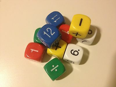 Numerical Dice Set 16mm (pack of 10) - Numeracy Teaching Resource (D091)