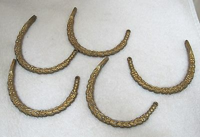 Lot of 5 Vintage Garland Curtain Hooks Tie Backs Goldtone Metal OLD Fun! T63