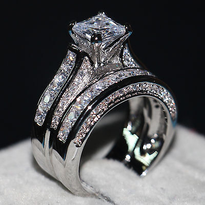 Handmade Women Diamonique Cz White Gold filled Engagement Wedding Band Ring Set