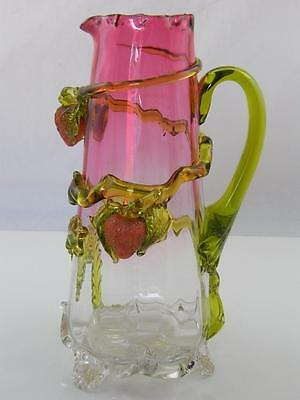 Antique Bolton Mills Cranberry Glass Applied Strawberry Jug
