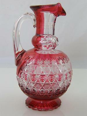C.1900 Hob Nail Cut Cranberry Glass Jug