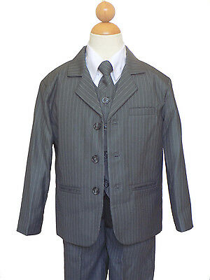 BOYS PINSTRIPED RECITAL, GRADUATION FORMAL SUIT SET , GRAY/WHITE, SZ: 8 to 12