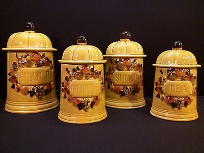 4 KITCHEN CANISTERS MUSTARD COLOR with Lids VINTAGE 1970's HAND PAINTED Ceramic