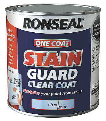 750ml Ronseal One Coat CLEAR STAIN GUARD for indoor walls & ceiling paint Matt