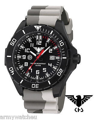 KHS Special Operations Watches Landleader Black Steel Diver band Camouflage Tan