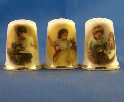 Fine Porcelain China Thimbles - Set Of Three Vintage Sewing Ladies