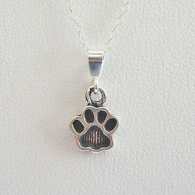 Paw Print Mini Pendant Charm and Necklace - Sterling Silver - Free Shipping