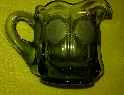 Vintage Green Glass With Frosted Coin Print