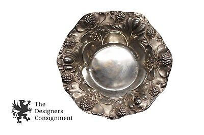 "Gorham Sterling Silver Baroque 5 1/2"" Nut Bowl Dish Repousse High Relief"