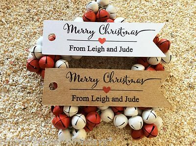 10 Kraft White Gift Tags Merry Christmas Favour Personalised From V2